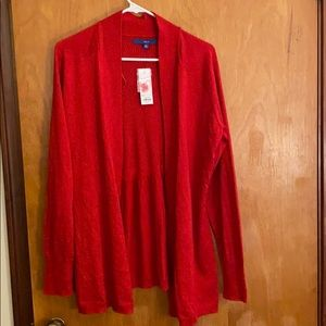Red sparkly Apt. 9 open front cardigan